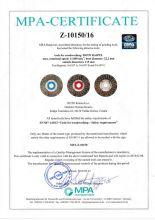 Certificate for Roto rasp d115 acc. EN 847-1:2013