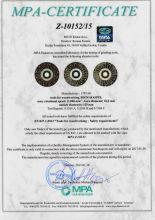 Certificate for Roto rasp d125 acc. EN 847-1:2013